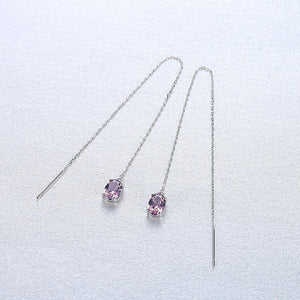Pure 92.5 Silver Long Genuine Morganite Dangle Earrings - Enumu