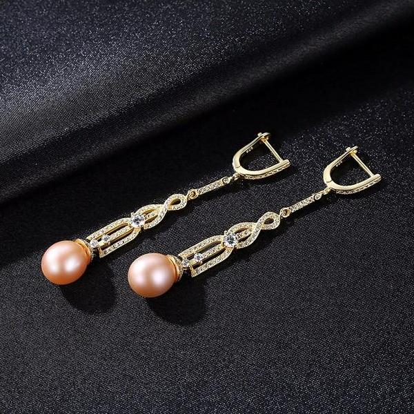 Pure 92.5 Silver Genuine Natural Pearl Dangle Earrings