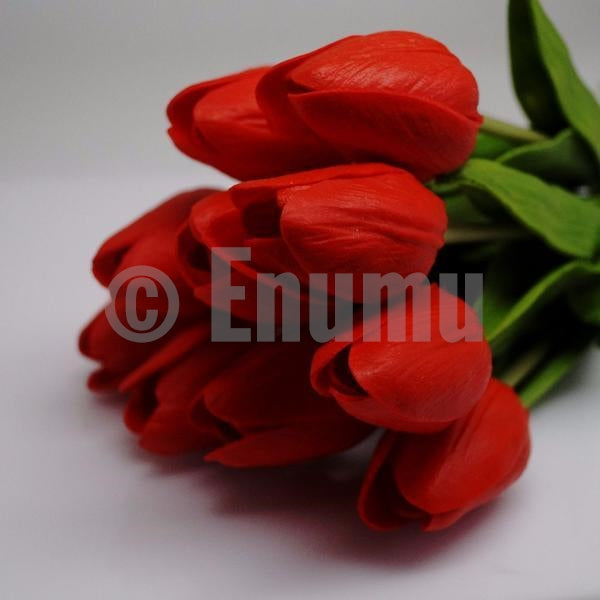 10 Pcs Red Tulips Artificial Flowers