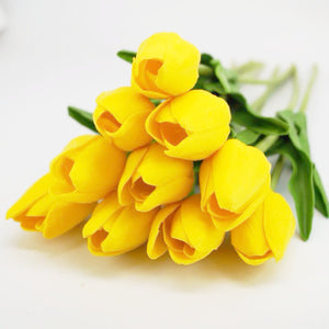 10 Pcs Yellow Tulips Artificial Flowers - Enumu