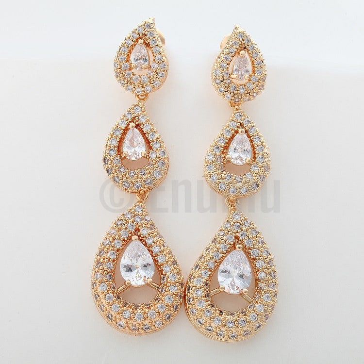 Long Dangle Swiss Zircon Wedding Earrings - Enumu