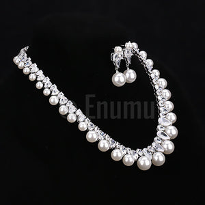 Pearl and Swiss CZ Necklace set - Enumu