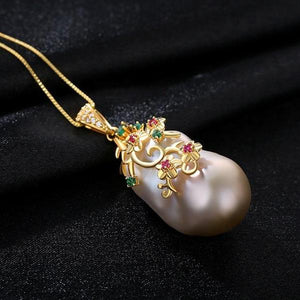 Pure 92.5 Sterling Silver Irregular Pearl with Flowers Necklace - Enumu