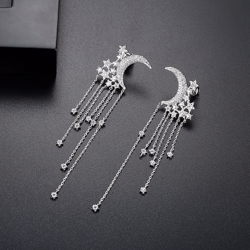 Moon Star Tassel Earrings
