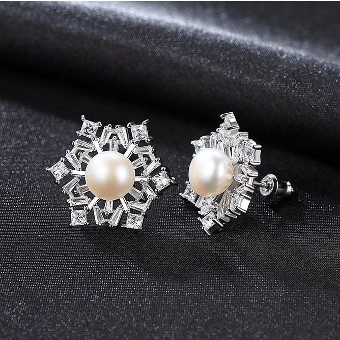 Pure 92.5 Sterling Silver Natural Pearl Studs - Enumu