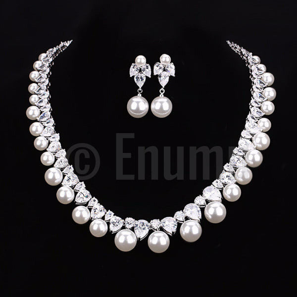Pearl and Swiss CZ Necklace set