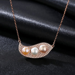 Sterling Silver Natural Pearl Pendant with Chain - Enumu