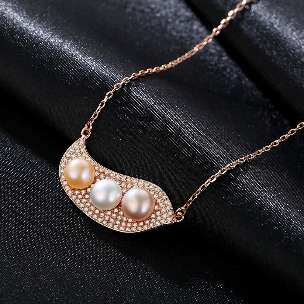 Sterling Silver Natural Pearl Pendant with Chain