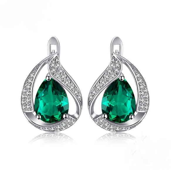 Pure 92.5 Sterling Silver 3.48 Ct Emerald Drop Studs - Enumu