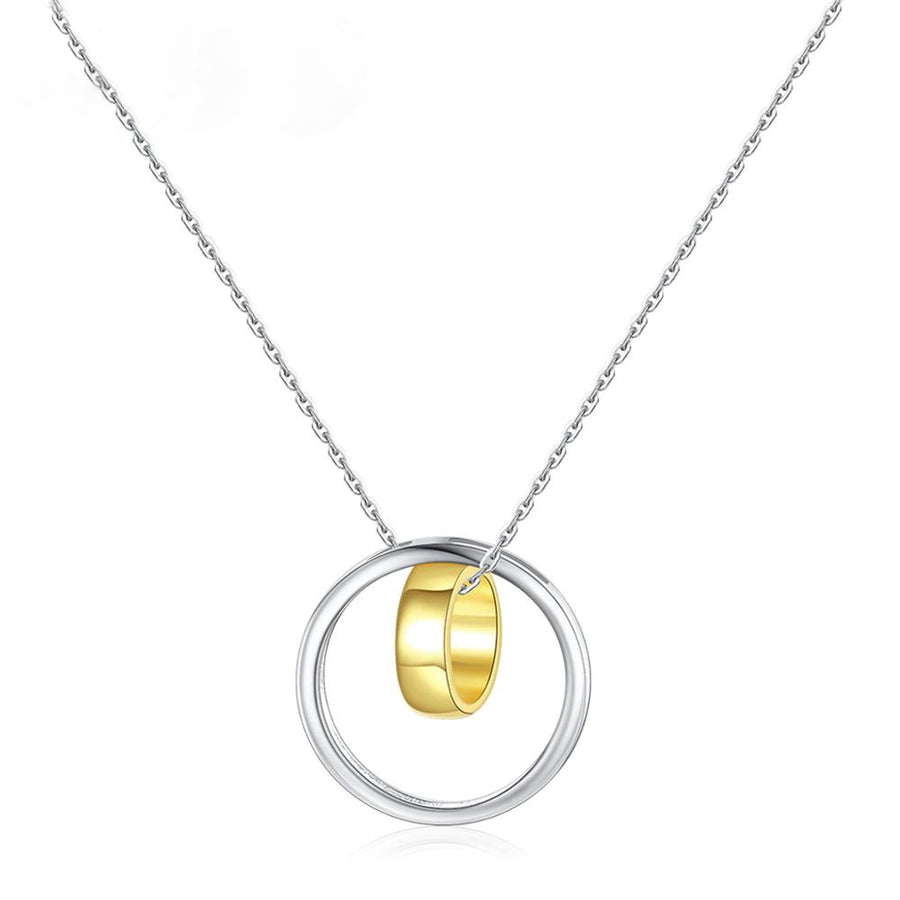 Pure 92.5 Sterling Silver Double Circle Pendant with Chain - Enumu