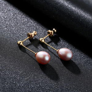 Pure 92.5 Sterling Silver Natural Golden Pearl Dangle Earrings - Enumu