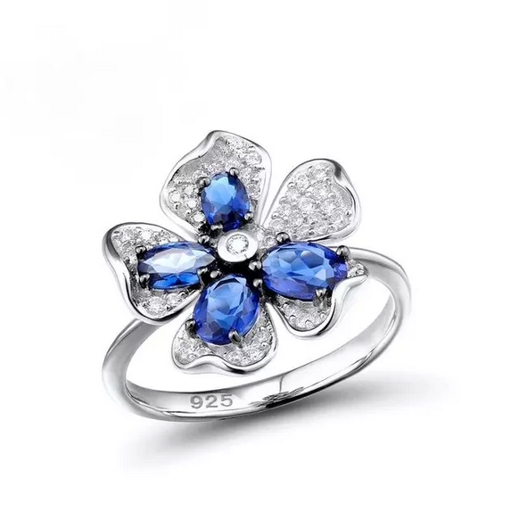 Pure 92.5 Sterling Silver Blue Sapphire CZ Flower Ring - Enumu
