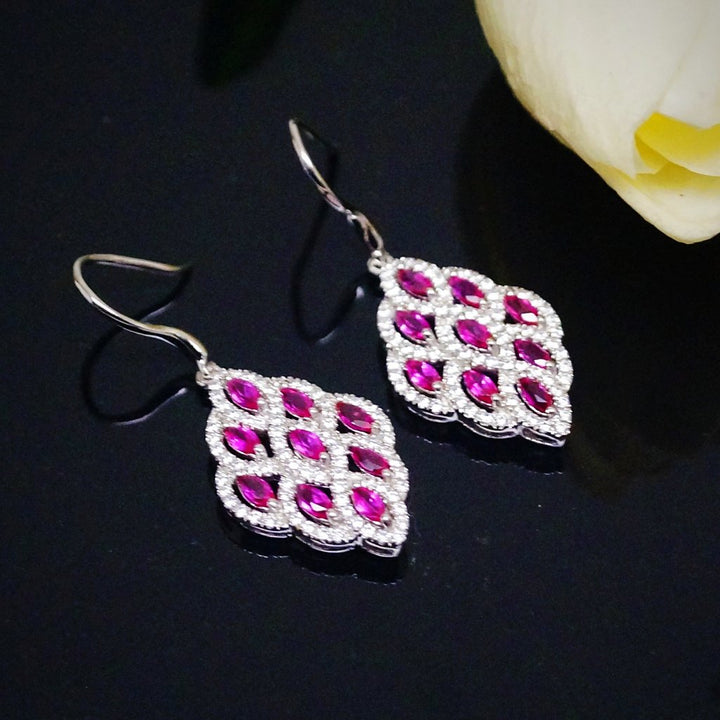 Pure 92.5 Sterling Silver Ruby & CZ Dangle Earrings - Enumu