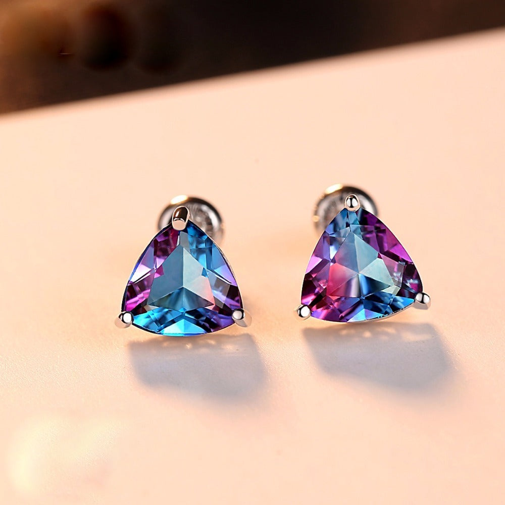 Sterling Silver Rainbow Stone Studs