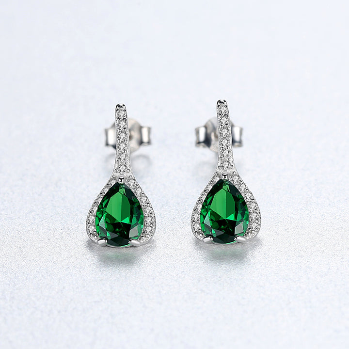 92.5 Sterling Silver Emerald Drop Studs - Enumu