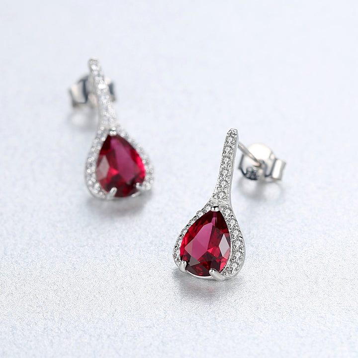 92.5 Sterling Silver Ruby Drop Studs - Enumu