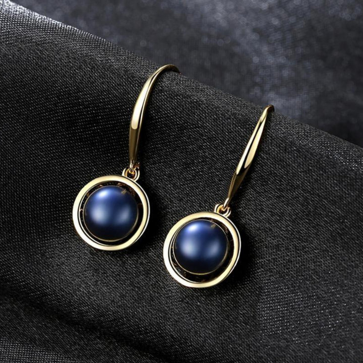 92.5 Gold plated Sterling Silver Black Pearl Coil Dangle Earrings - Enumu