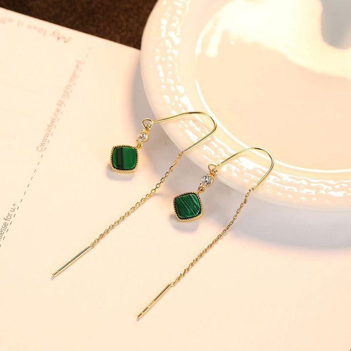 92.5 Sterling Silver Malachite Dangle Earrings - Enumu