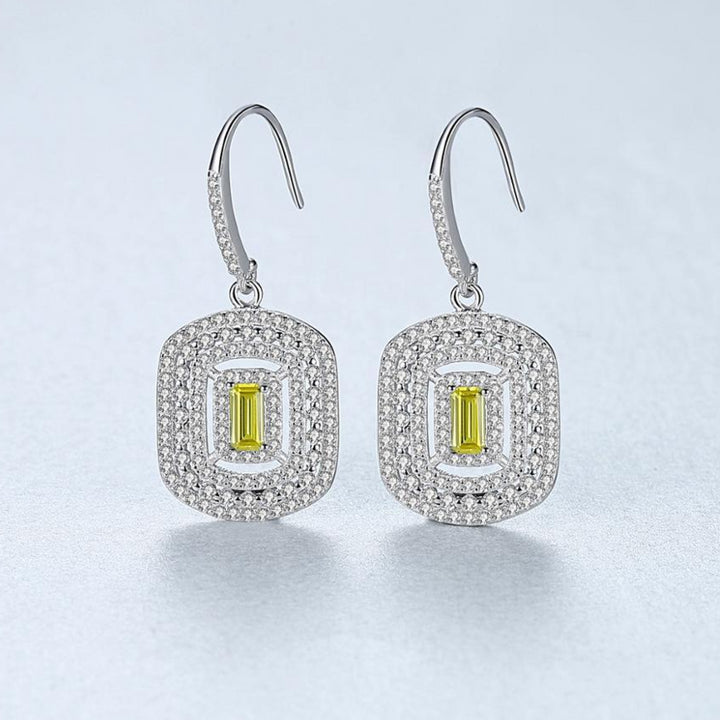 92.5 Sterling Silver Citrine CZ Coil Dangle Earrings - Enumu