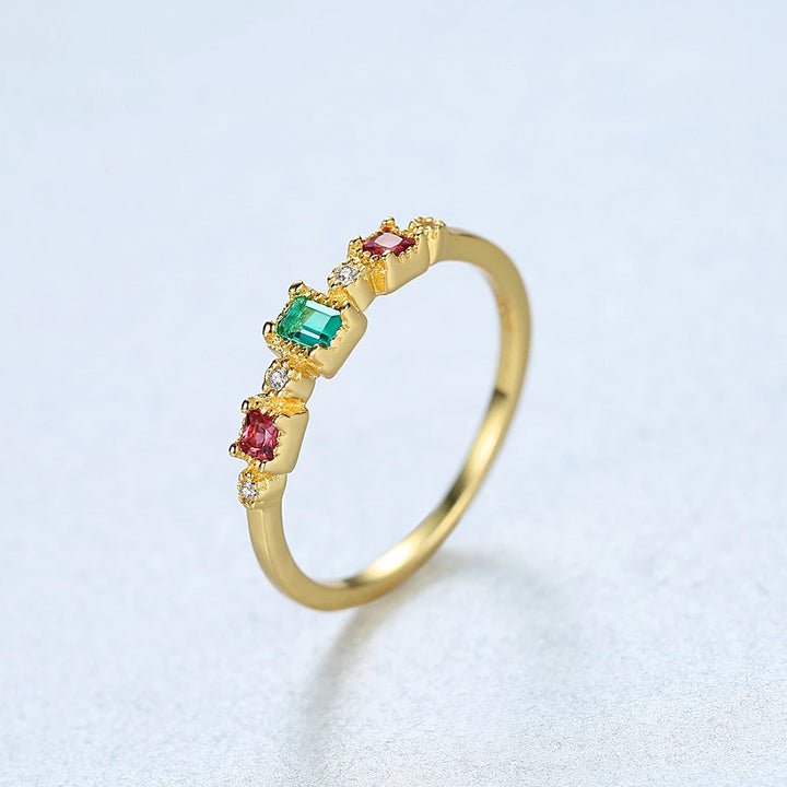 YGP 92.5 Sterling Silver Ruby Emerald Simple Ring - Enumu