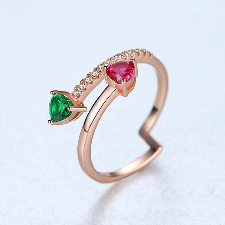 Gold plated 92.5 Sterling Silver Ruby Emerald Ring - Enumu