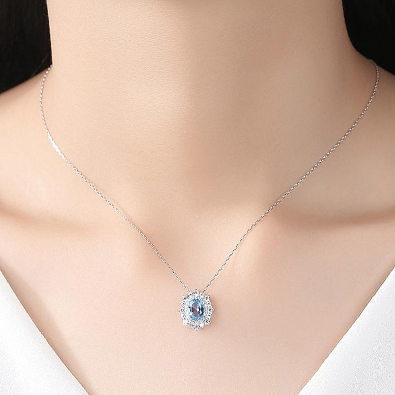 92.5 Sterling Silver Blue Topaz Pendant with Chain - Enumu