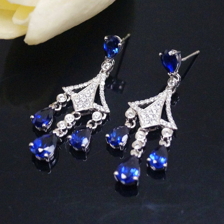 Pure 92.5 Sterling Silver Blue Sapphire & CZ Dangle Earrings - Enumu