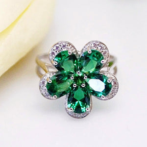 Pure 92.5 Sterling Silver Emerald Flower Ring - Enumu