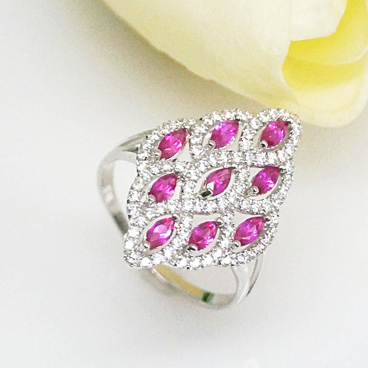 Pure 92.5 Sterling Silver Ruby & CZ Ring - Enumu