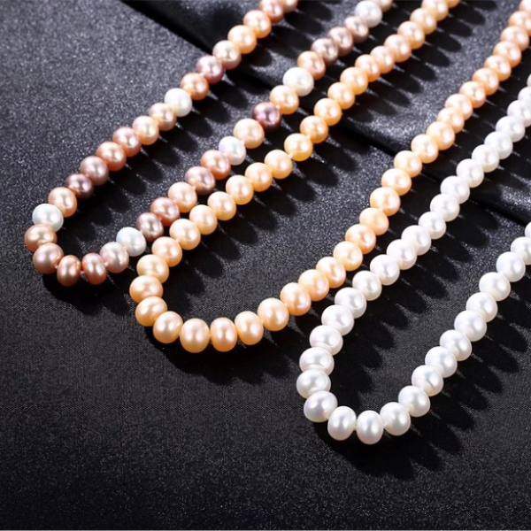 Sterling Silver Natural Multi Color 8MM Pearl Necklace - Enumu
