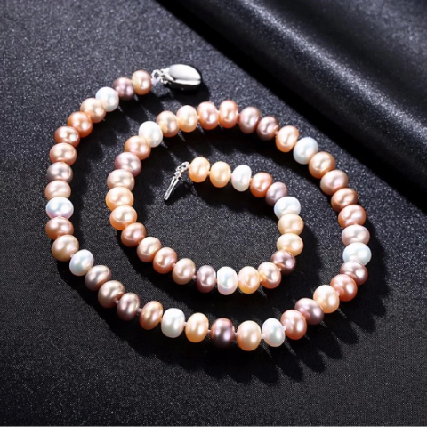 Sterling Silver Natural Multi Color 8MM Pearl Necklace