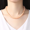 Sterling Silver Natural Beige 8MM Pearl Necklace