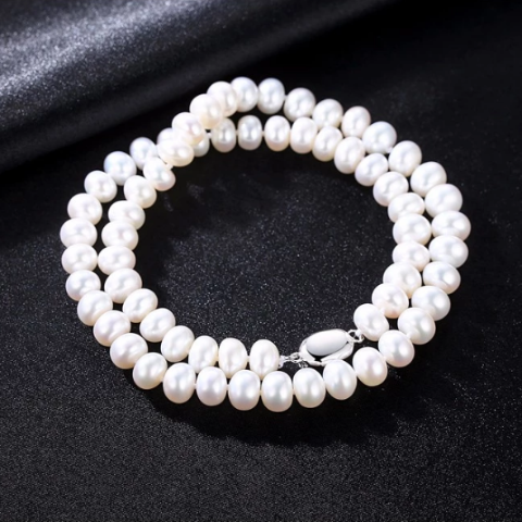 Sterling Silver Natural White 8MM Pearl Necklace - Enumu