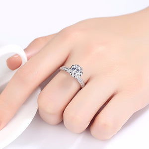 Pure 92.5 Sterling Silver 2.89 Ct Solitaire Ring - Enumu