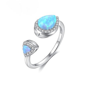 Pure 92.5 Sterling Silver Fire Opal Adjustable Ring - Enumu