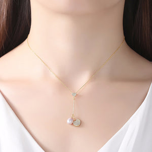Sterling Silver Heart Pearl Pendant with Chain - Enumu