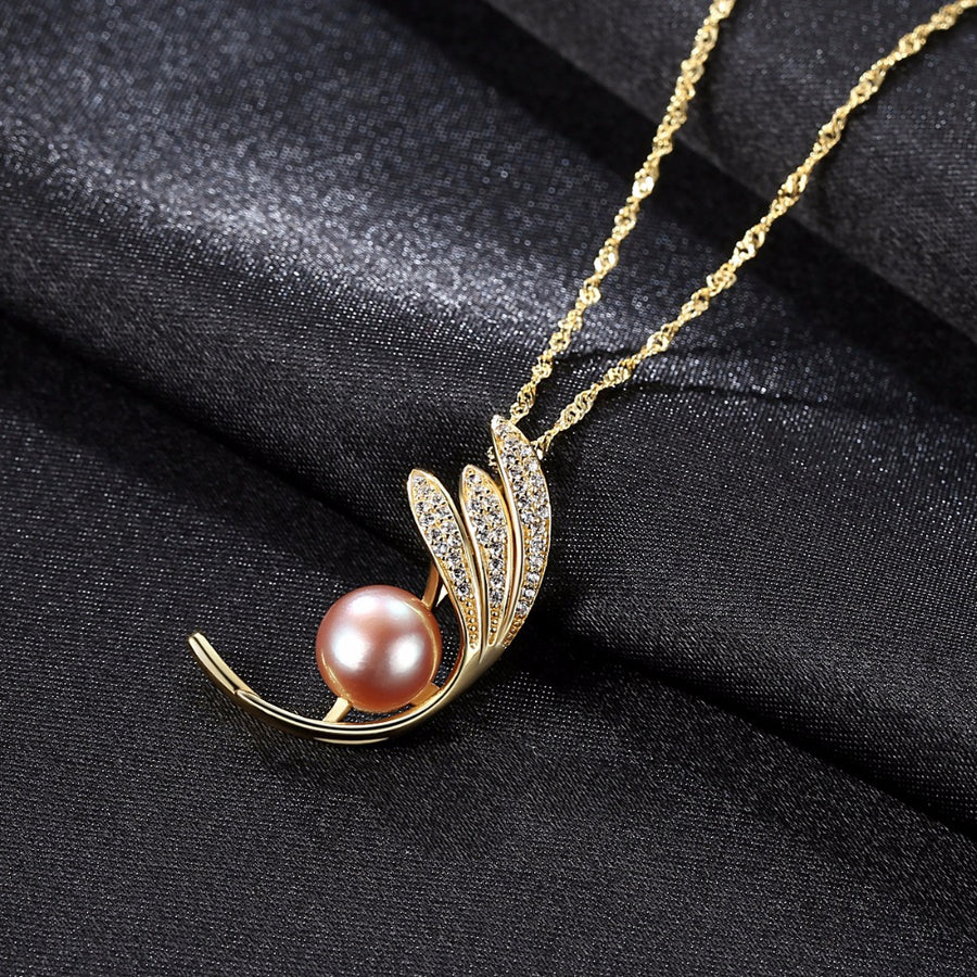 Sterling Silver Leaves Pearl Pendant with Chain - Enumu