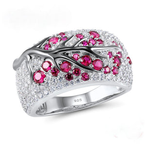 Sterling Silver Ruby and CZ Ring - Enumu