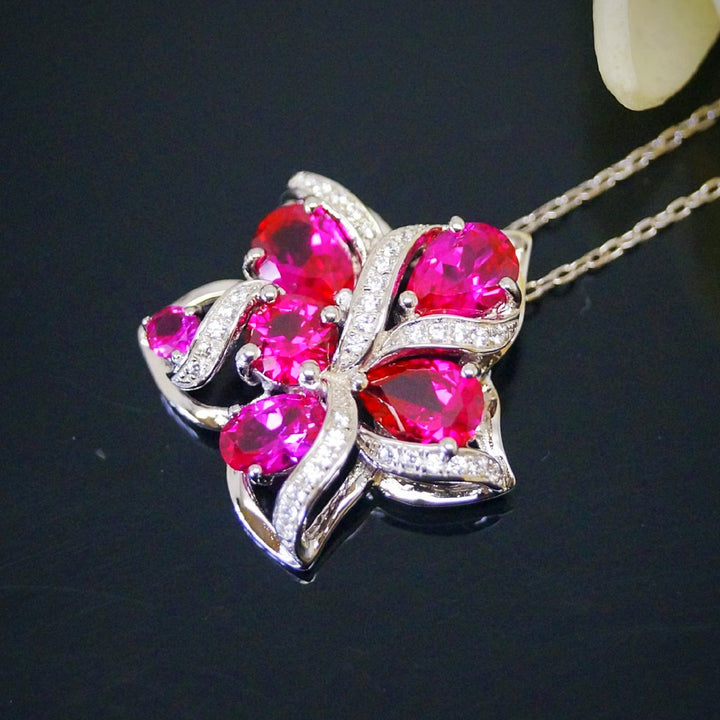 Pure 92.5 Sterling Silver Ruby Designer Flower Pendant with Chain - Enumu