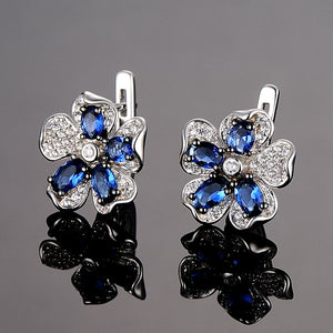 Pure 92.5 Sterling Silver Blue Sapphire Flower Set - Enumu