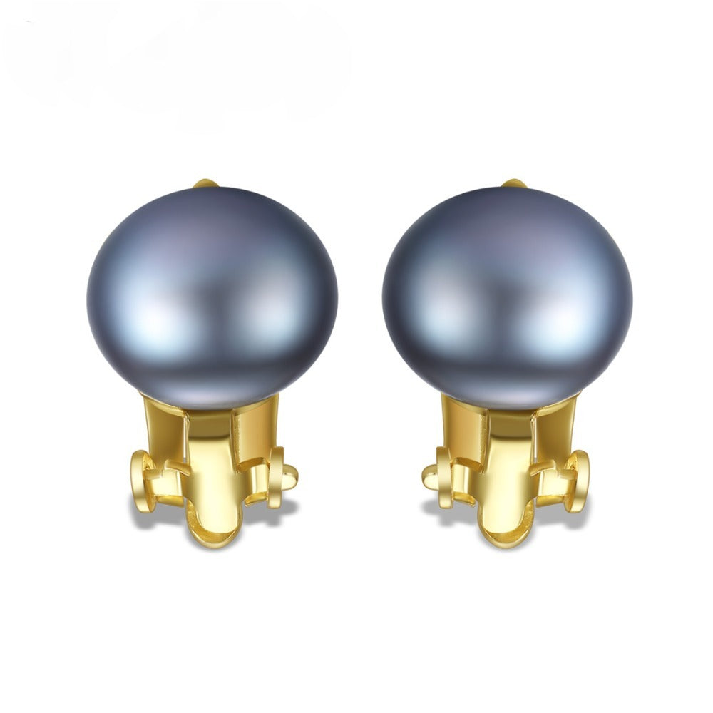 Sterling Silver Clip-on 18K Gold plated Gray Natural Pearl Studs