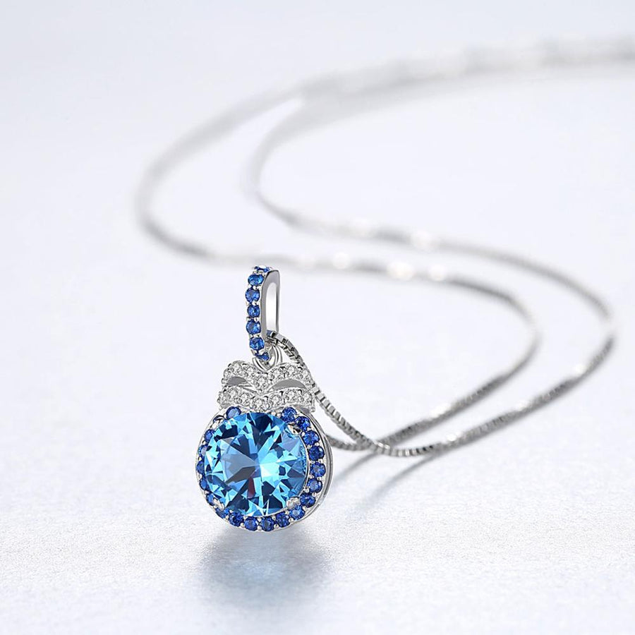 Sterling Silver Blue Sapphire and Blue Topaz Pendant with Chain - Enumu