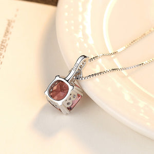 Sterling Silver Smoky Quartz Pendant with Chain - Enumu