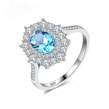 Pure 92.5 Sterling Silver Blue Topaz Designer Ring - Enumu