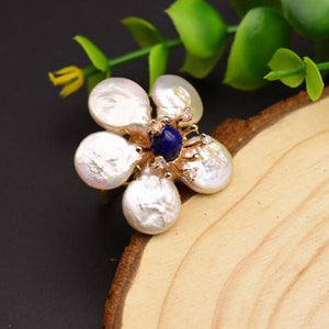 Huge Sterling Silver Natural Pearl Lapis Lazuli Adjustable Ring - Enumu