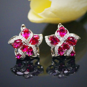 Pure 92.5 Sterling Silver Ruby Designer Flower Earrings - Enumu