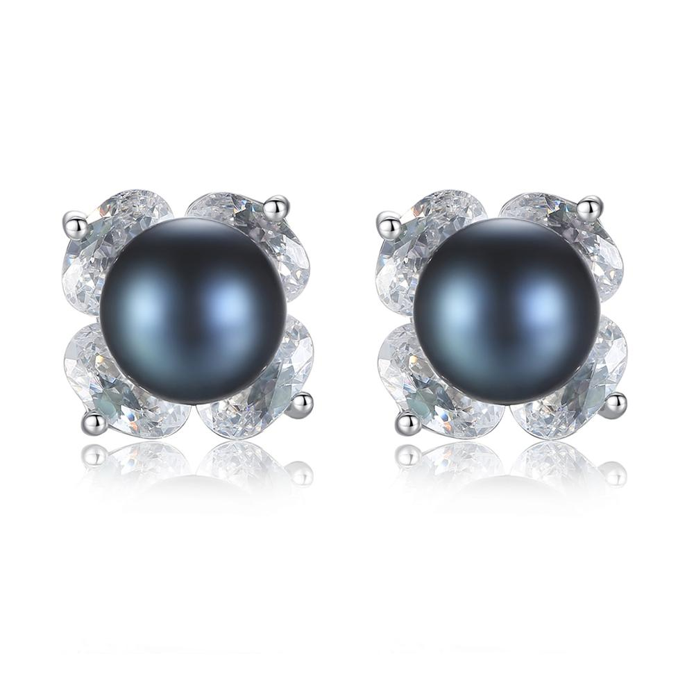Sterling Silver Black Pearl Studs