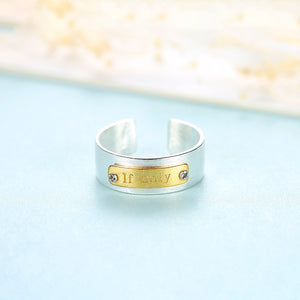Sterling Silver Adjustable White on Yellow Wedding Band - Enumu