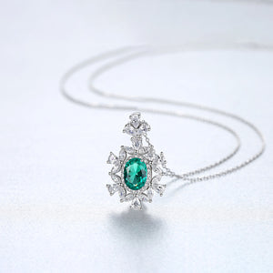 Pure 92.5 Sterling Silver Emerald & CZ Pendant with Chain - Enumu