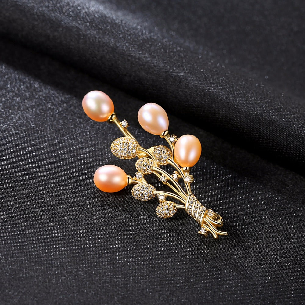 Sterling Silver Natural pearl Brooch